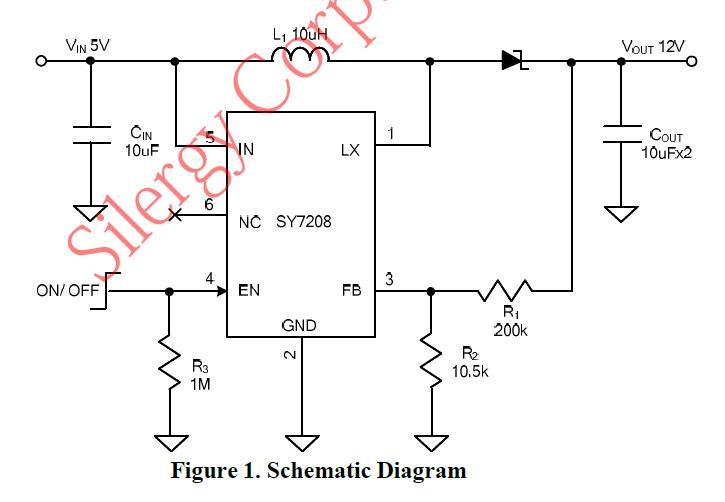 dc-dc升压芯片sy7208外围电路配置