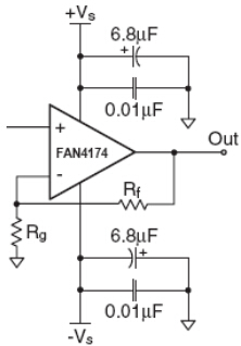 FAN4174's Typical Application Circuit