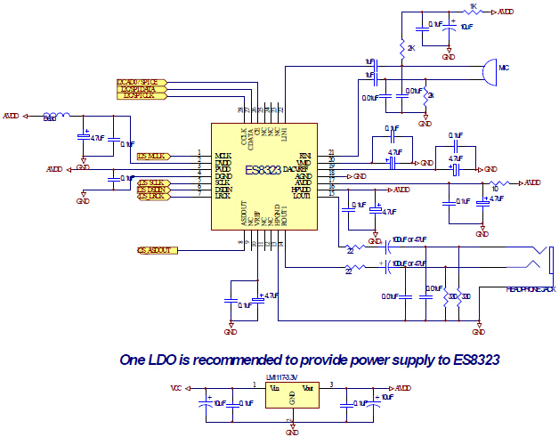 ES8323's Typical Application Circuit
